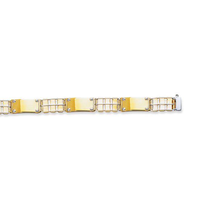 14 Karat Yellow & White Gold 8.50 Inch Railroad Type & Nail Head Fancy Men's Rolex Bracelet: This two-tone,… #DiamondJewelry #DiamondRings