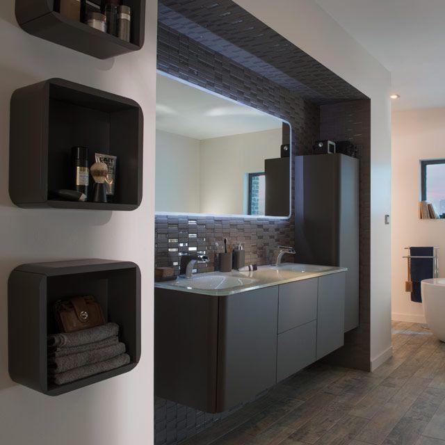 meuble de salle de bain poivre 140 cm ceylan castorama - Douche Salle De Bain Castorama