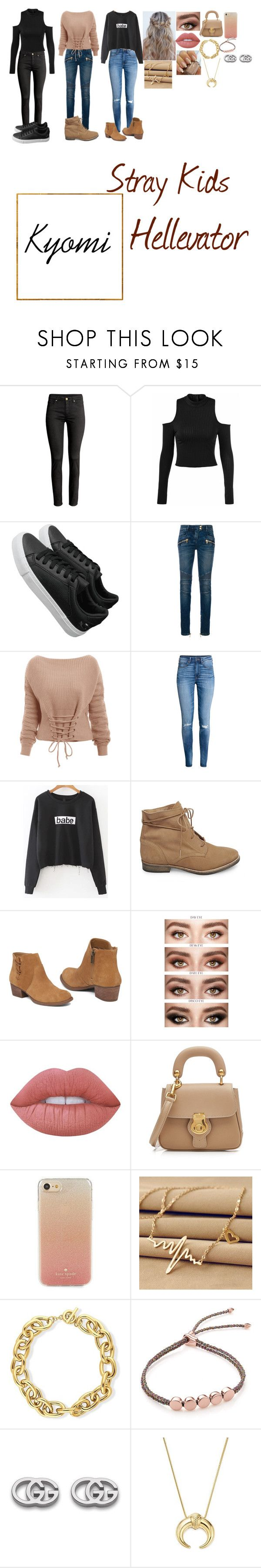 """""""Hellevator"""" by kyomihanninzowa on Polyvore featuring Balmain, H&M, Steve Madden, Jessica Simpson, Lime Crime, Burberry, Kate Spade, BERRICLE, Monica Vinader and Gucci"""