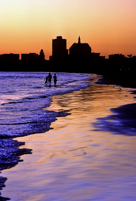 Long Beach California skyline from the beach at sunset is so beautiful.