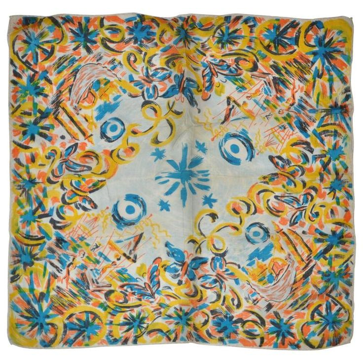 "Detailed ""Beach Scenes"" Silk Chiffon Scarf 