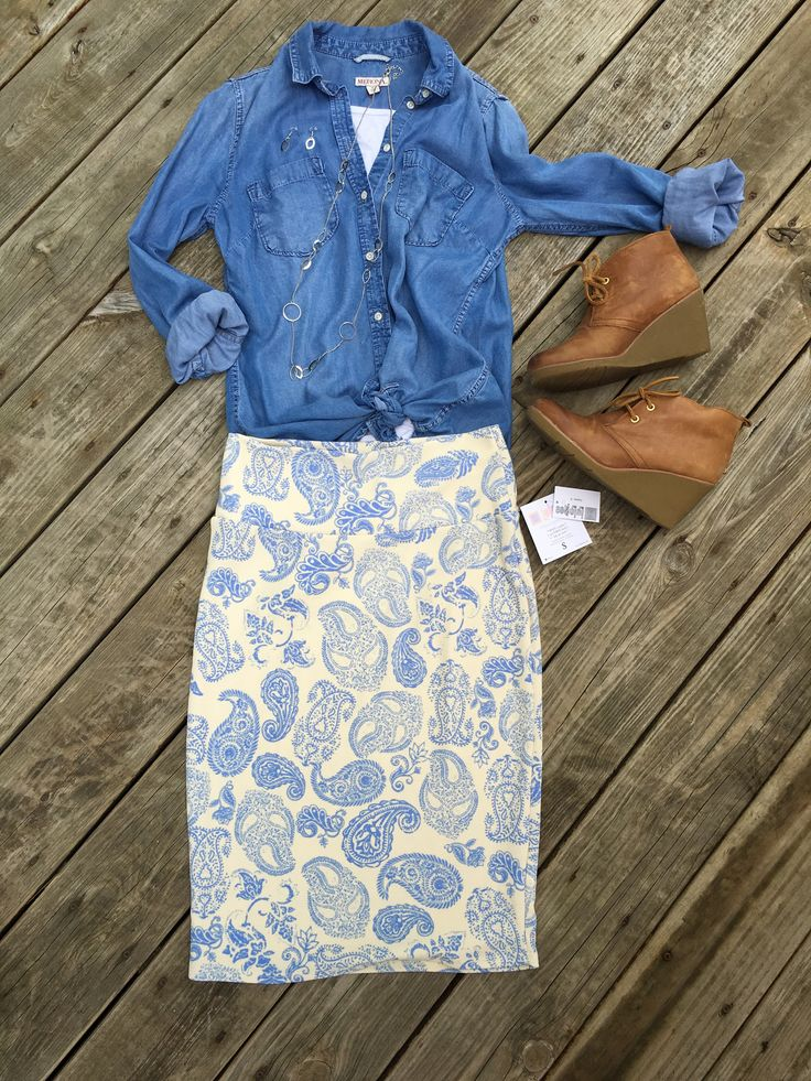 LuLaRoe Cassie skirt and chambray shirt make a great pair. Flat Lays by LuLaRoe with Devin Leigh. Cute outfit! #devinsleggings #lularoewithdevinleigh