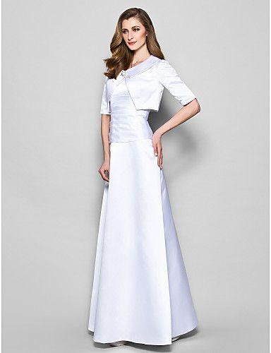 Lanting Bride® Krój A Puszysta / Drobna Sukienka dla matki panny młodej - Bolerko w komplecie Sięgająca podłoża Rękaw 1/2 Satyna - 2226201 2017 – €97.99