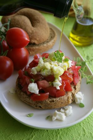Tomatoes, feta and rusket, Yummy Greek delight.
