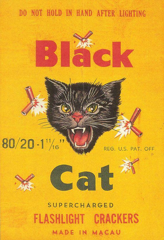 BLACK CAT CL2 80/20s Firecracker Brick Label Reproduction - Mint Condition