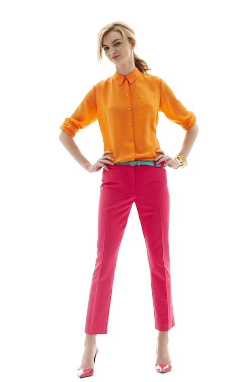 trends: neons - worthington silk blouse and ankle pants