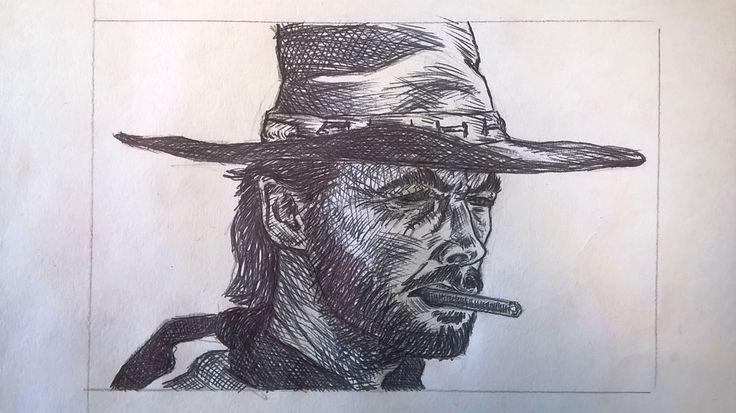 Caricatura di Clint Eastwood, penna - Drawing of Clint Eastwood, pen
