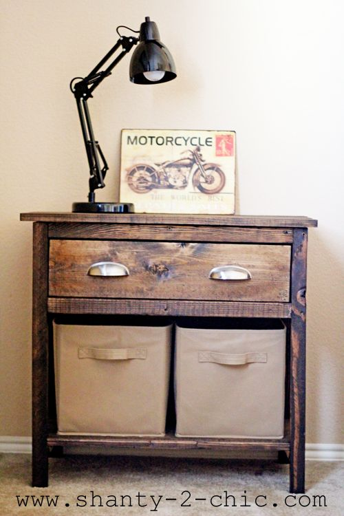 Farmhouse Night Stand for a Boys Room via www.shanty-2-chic.com with step by step instructions and photos