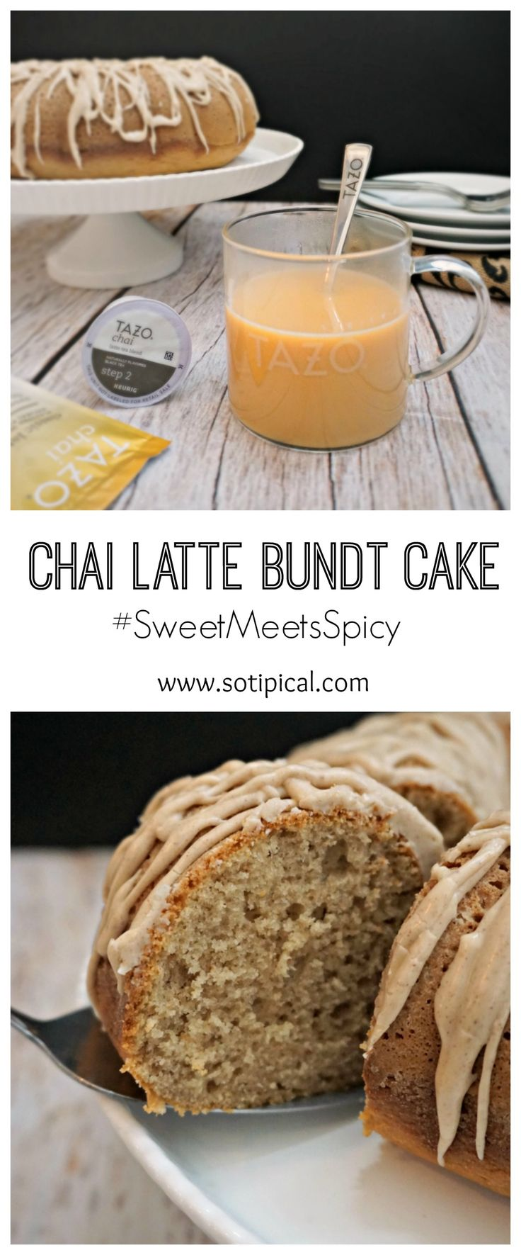 Pair this Chai Latte Bundt Cake with a steaming cup of TAZO® Chai Latte! #SweetMeetsSpicy #ChaiLatte #IC ad @tazotea