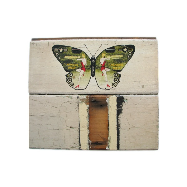 A lovely print featuring a butterly.  This work is on timber,and shows some of the wood grain coming through the paint.  Phillipa's work is often inspired by nature and currently a fascination with Entomology in a reoccurring theme in her works.