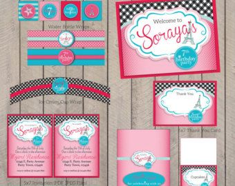Paris Bakery Party, Bakery birthday Themed Complete PDF Birthday Party Package