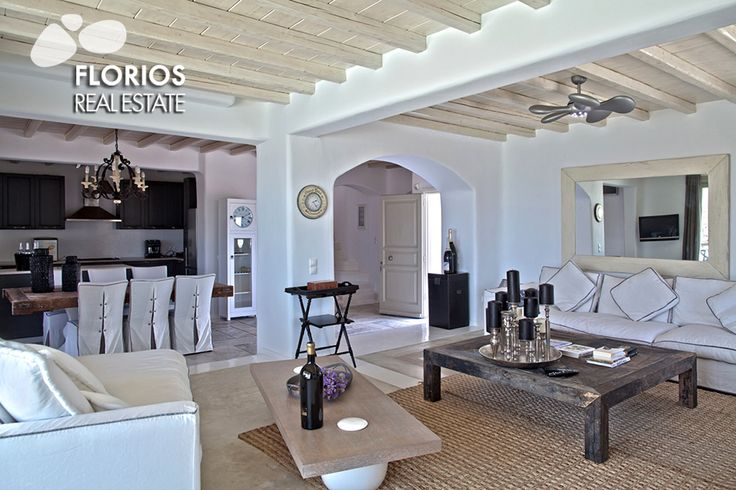 The architecture of the villa is in full harmony with the Mykonian style, while the designed furniture, fabrics and artifacts create a chic aura all around. FL1021 Villa for Sale on Mykonos island, Greece. http://www.florios.gr/en/mykonos-property/18.html