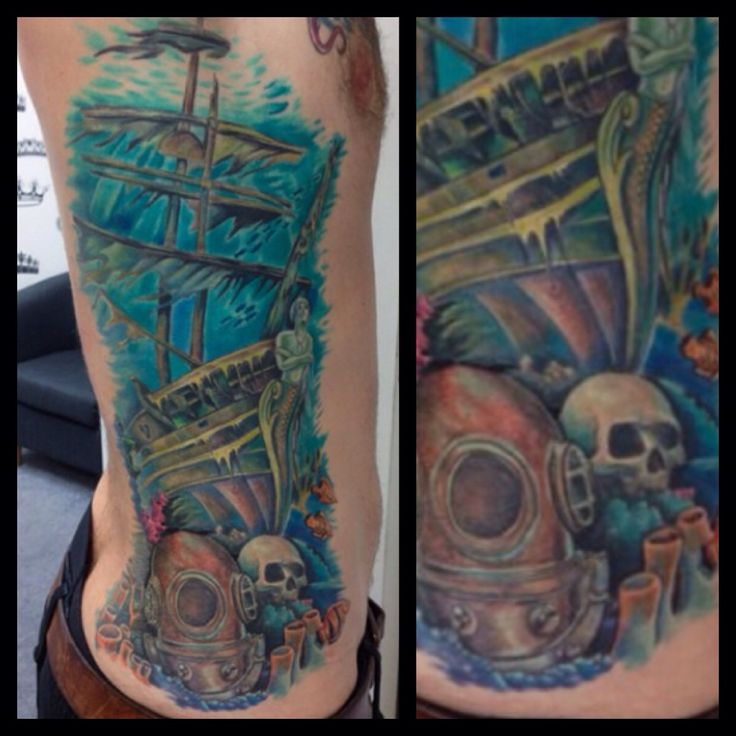 Underwater Shipwreck Tattoo Underwater ship...