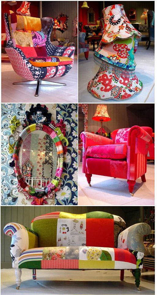 Patchwork style doesn't stop at walls & headboards..it goes for furniture & lampshades too! :) :)