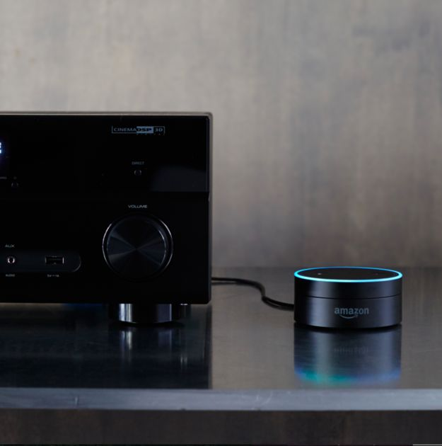 Well, Amazon just announced a new device, the Echo Dot, that lets you put the intelligence of Alexa into *any* speaker. | Here's Everything You Need To Know About Amazon's Newest Gadgets