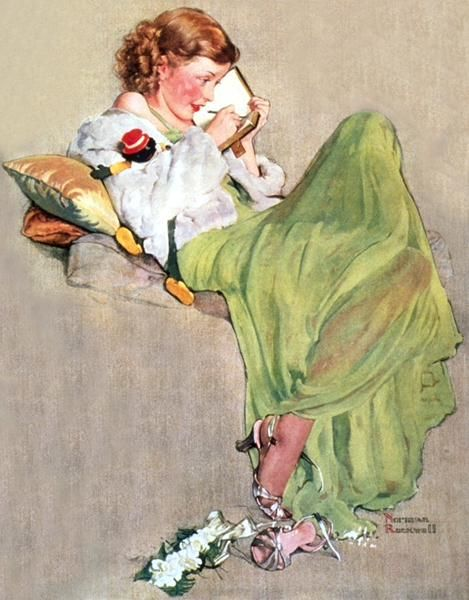 """""""Diary"""" by Norman Rockwell, date unknown ・ Style: Regionalism ・ Genre: genre painting"""