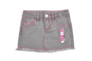 Falda para niña, en tela de jeans en color gris.