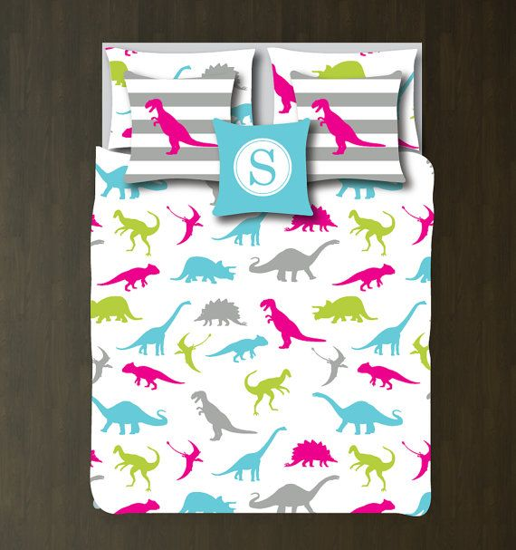 Custom Dinosaur Bedding Bedding Set-Custom Duvet Cover-Shams-Grey-Aqua-Hot Pink-Bright Chartreuse-Choose Colors-Full/Queen-King-Bedroom-Room