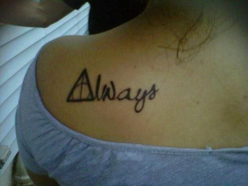 This is my Harry Potter tattoo:) Some people say that I'll regret it, but I love my tattoo more than anything. ;It's real for us.<3   yourhighhhhness.tumblr.com