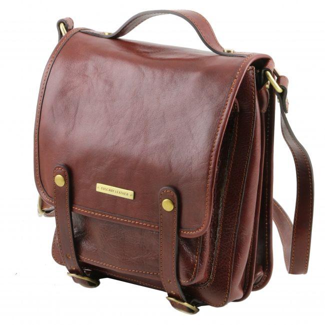 Deze mooie leren tas nu met flinke korting? OP=OP, dus bekijk hem snel. Daniel - Lederen schoudertas met riemen - honing - TL141304 - Tuscany Leather