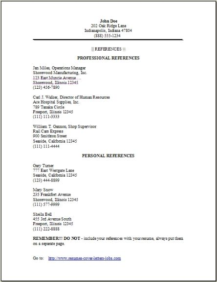 Sample Resume Reference Page Template - http://www ...
