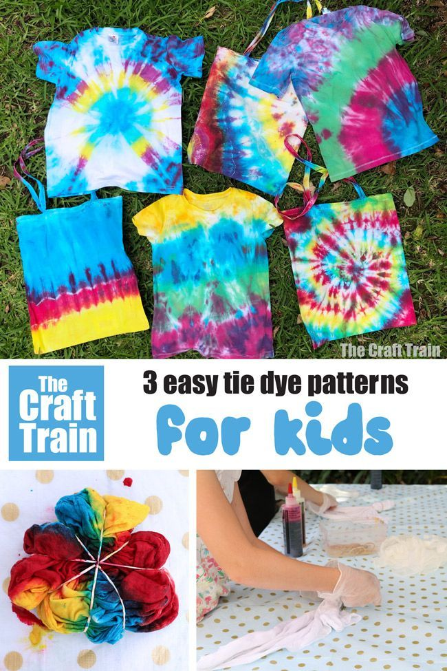 How To Tie Dye 3 Easy Patterns Art Ideas For Kids Summer Crafts