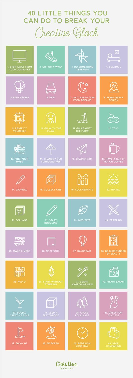 Here are dozens of tips that will help you get out of any creative slump. #breakinghabits #productivity #creativity