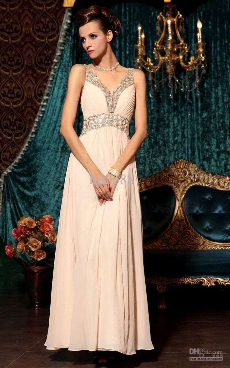 Embroidery/Beaded Floor-length Chiffon Evening Dress