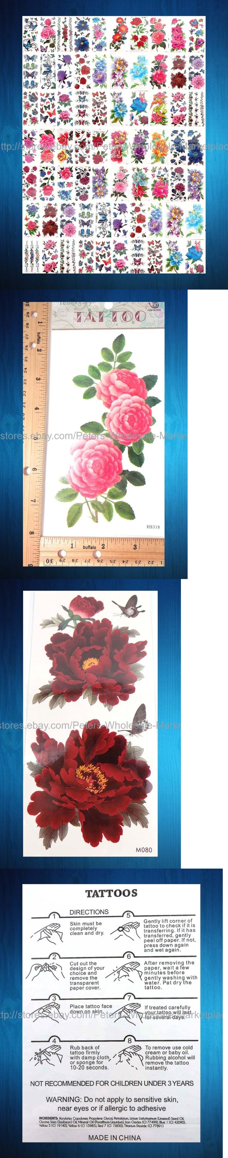Temporary Tattoos: Us Seller- 100 Sheets Large Flower Rose Peony Temporary Tattoo Fake Realistic BUY IT NOW ONLY: $59.75