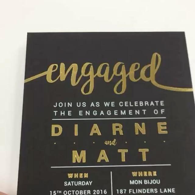 Beautiful Gold Foil & White Ink on a Matte Black Card. #inspireddesign #engagement #foiledinvitations #whiteink #matteblack #wedding #madeinmelbourne #melbourneweddings #shesaidyes #invitations  #Regram via @inspireddesigninvites