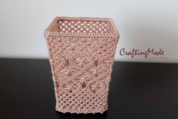 Basket ,Small size, Macrame, Weaving basket, Square shape,Handmade , Dirty Pink Color, Storage,Gift,Vest,Decorated,Living room on Etsy, 610,53 Kč