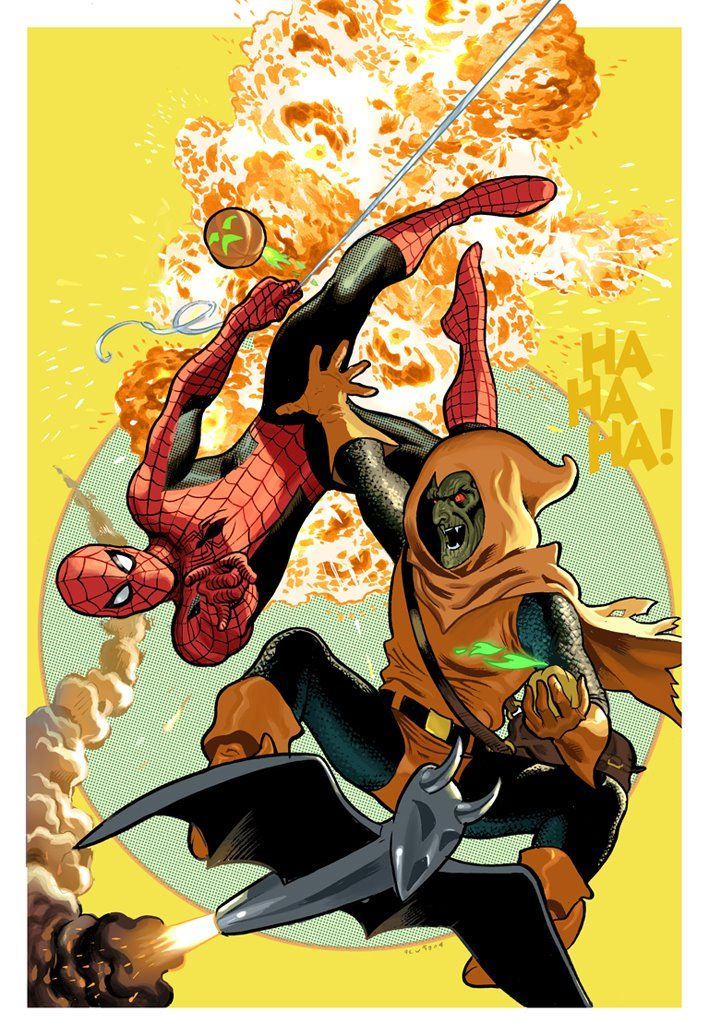 Spider-Man vs Hobgoblin - Daniel Acuna----> this is great apart from the awkward goblin hand/ Spidey crotch tangent