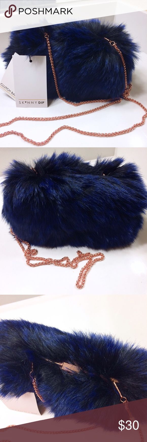 Blue Split Hairs Faux Fur Clutch Evening Bag New with tags! Skinnydip London x Nasty Gal. Comes with detachable rose-gold colored strap. NO TRADES!! 🚫🚫🚫 Skinnydip London Bags Clutches & Wristlets