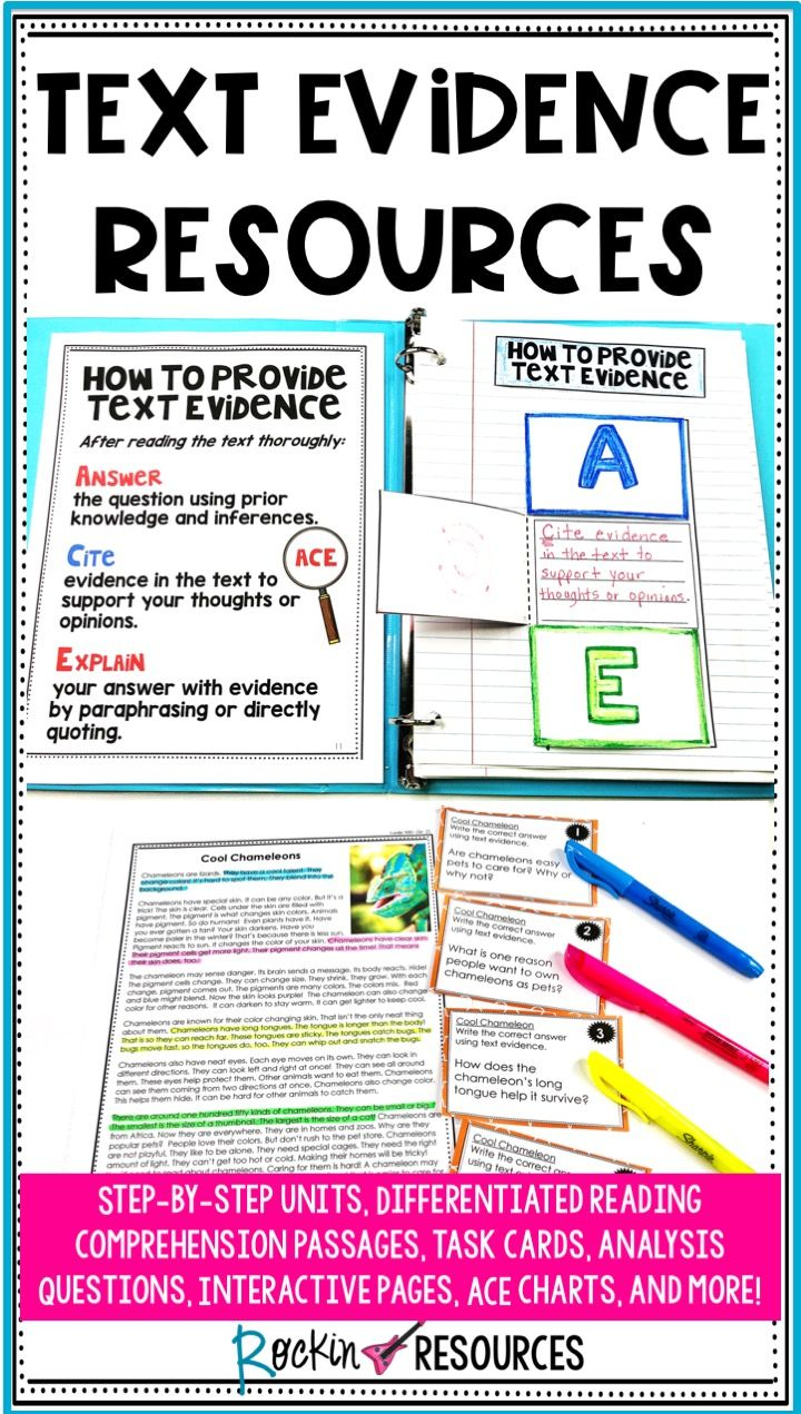 Text Evidence Resource Stock Up On Step By Unit Comprehension Reading Passage For Informational Teaching Writing Middle School Literacy Standard Paraphrasing
