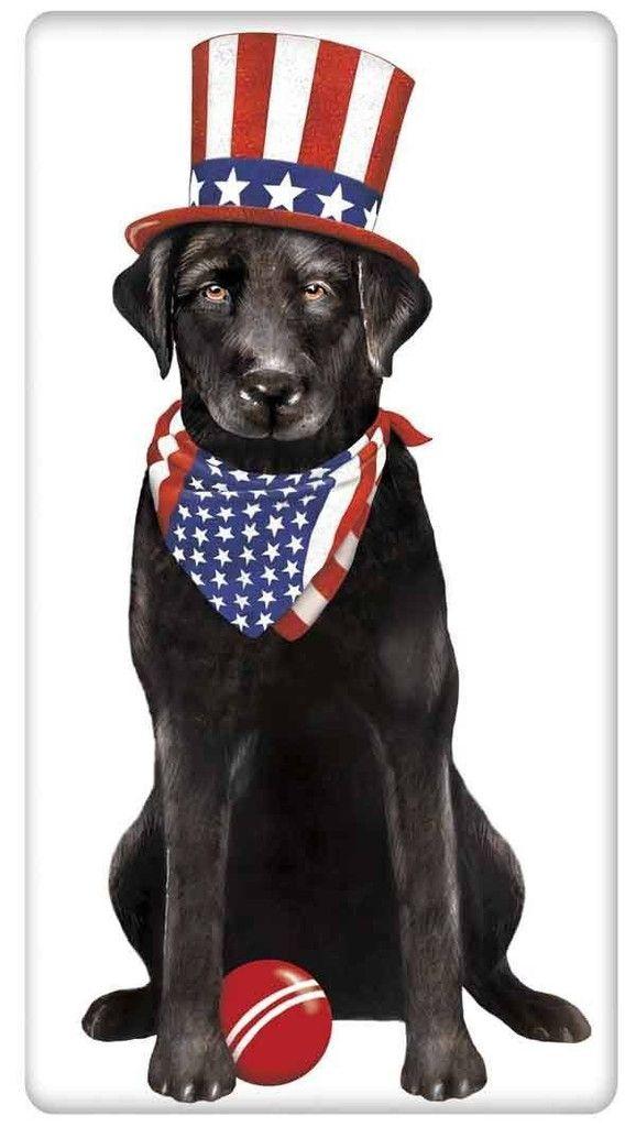 Patriotic Black Labrador Retriever Dog 100 Cotton Flour