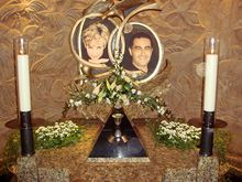 The first of two memorials to Diana, Princess of Wales, and Dodi Fayed in Harrods