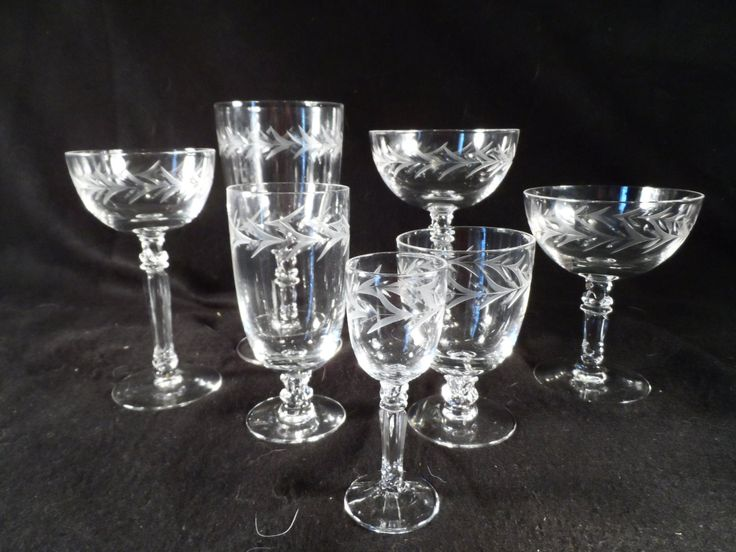 Clear Glass Stemware-Fostoria Glass Etched Holly Pattern Wine Glasses-Dining room decor-Drinking Glasses-Home decor by BCScollectibles on Etsy