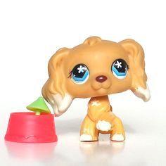 Littlest Pet Shop Cocker Spaniel 748 Cream White Dipped Ear Flower Eye Rare LPS #Hasbro