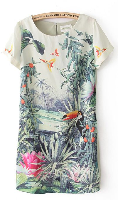 Short sleeve parrot print chiffon dress X849