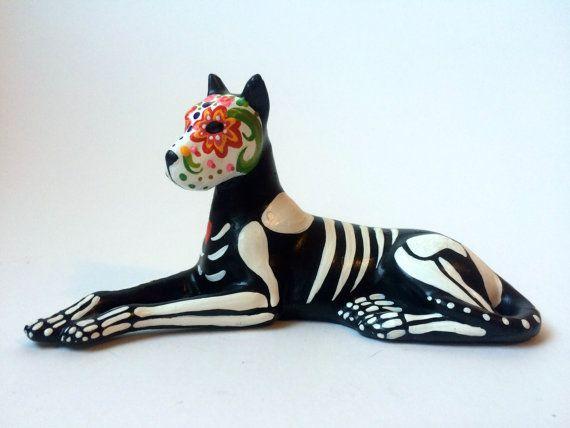 Day of the Dead great dane Dog Sugar Skull pet memorial Dia De Los Muertos sculpture Dog skeleton Halloween decor
