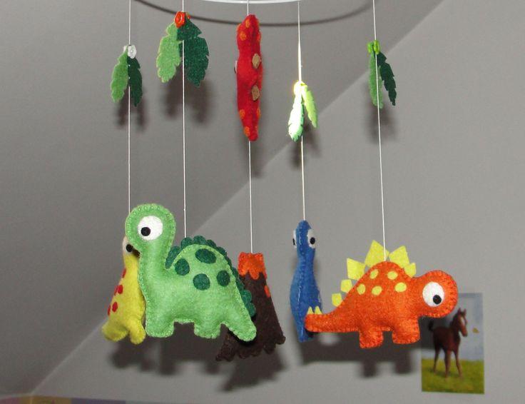 Wool Felt Dino Crib Mobile, Baby Mobile, Nursery Decoration, Dinosaur Ornament, Baby Decor, Dinosaur Mobile, Hanging Mobile by NitaFeltThings on Etsy