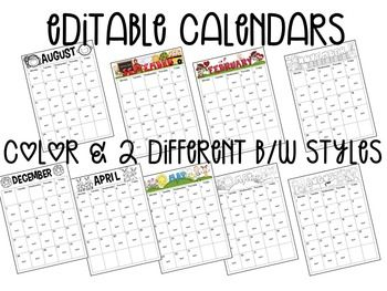 Editable Calendars, Newsletters & Forms! This set includes three different sets of calendars to chose from--two black and white and one color. You have holiday and non-holiday options. There are also several newsletter templates. There are two or more themed forms for each month, perfect for sending out a parent note or party sign up sheet. $