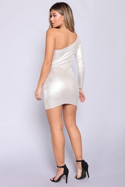 Diamond Sky Metallic Dress - Silver