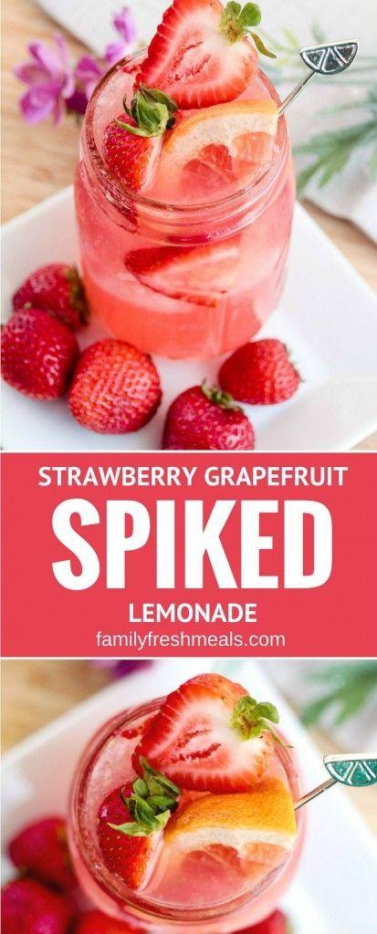 Strawberry Grapefruit Spiked Lemonade #lemonade #grapefruit #strawberry #spikedlemonade #drinks #familyfreshmeals
