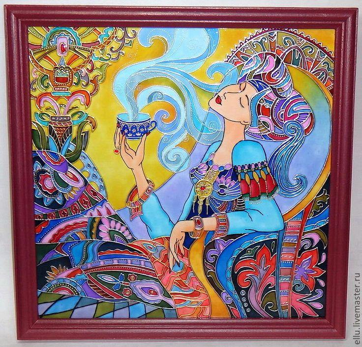 """Люди, ручной работы. Ярмарка Мастеров - ручная работа Витражная картина """"Аромат Востока"""", роспись по стеклу. Handmade."""