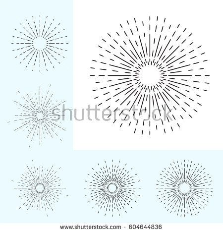 Linear Drawing of Vintage Sunbursts in Hipster Style. Vector Rays Radiating from a Central Object Isolated on White