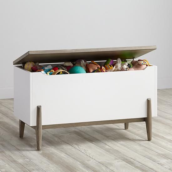 Our Wrightwood Toy Box will feel right at home in any room of your house.  The stunning, two-tone finish in stained grey and white allows the toy box to coordinate with your other furniture and decor, while still standing out on its own.  Plenty of storage space and child safe closures make it at safe as it is stylish.