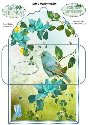 Blue bird gift card money wallet envelope on Craftsuprint designed by Julie Hill…