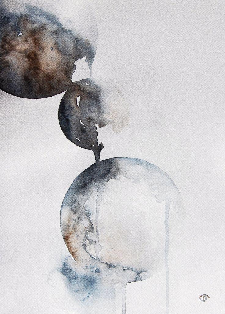 abstract stone spheres. watercolor. artist: Jennifer Thangavelu. facebook: Limninescence Fine Art