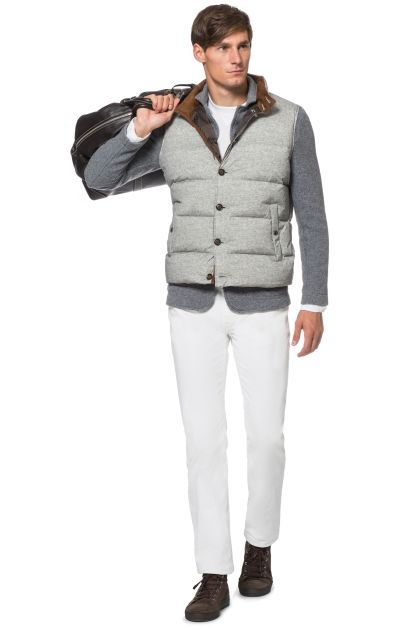 QUILTED SLEEVELESS NYLON JACKET WITH BUTTONS, Grey, medium